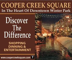 Cooper Creek Square : Cooper Creek Square offers a quaint pedestrian mall with an eclectic collection of shops and restaurants located in downtown Winter Park.  Look for live music all year long.